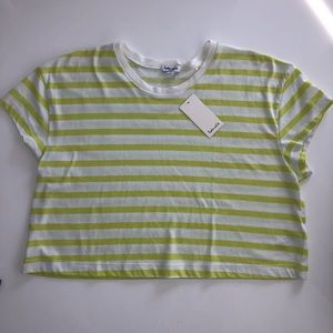 Splendid Striped Cropped Tee Shirt - Large NWT!
